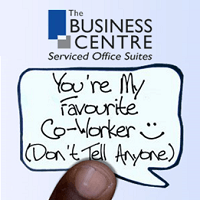 "TBC speech bubble saying ""You're my favourite co-worker. Don't tell anyone."
